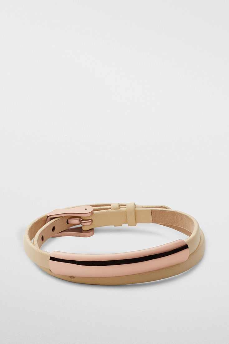 Composed of leather and polished rose-gold-tone stainless steel, the Elin wrap bracelet has a watch-like fit.