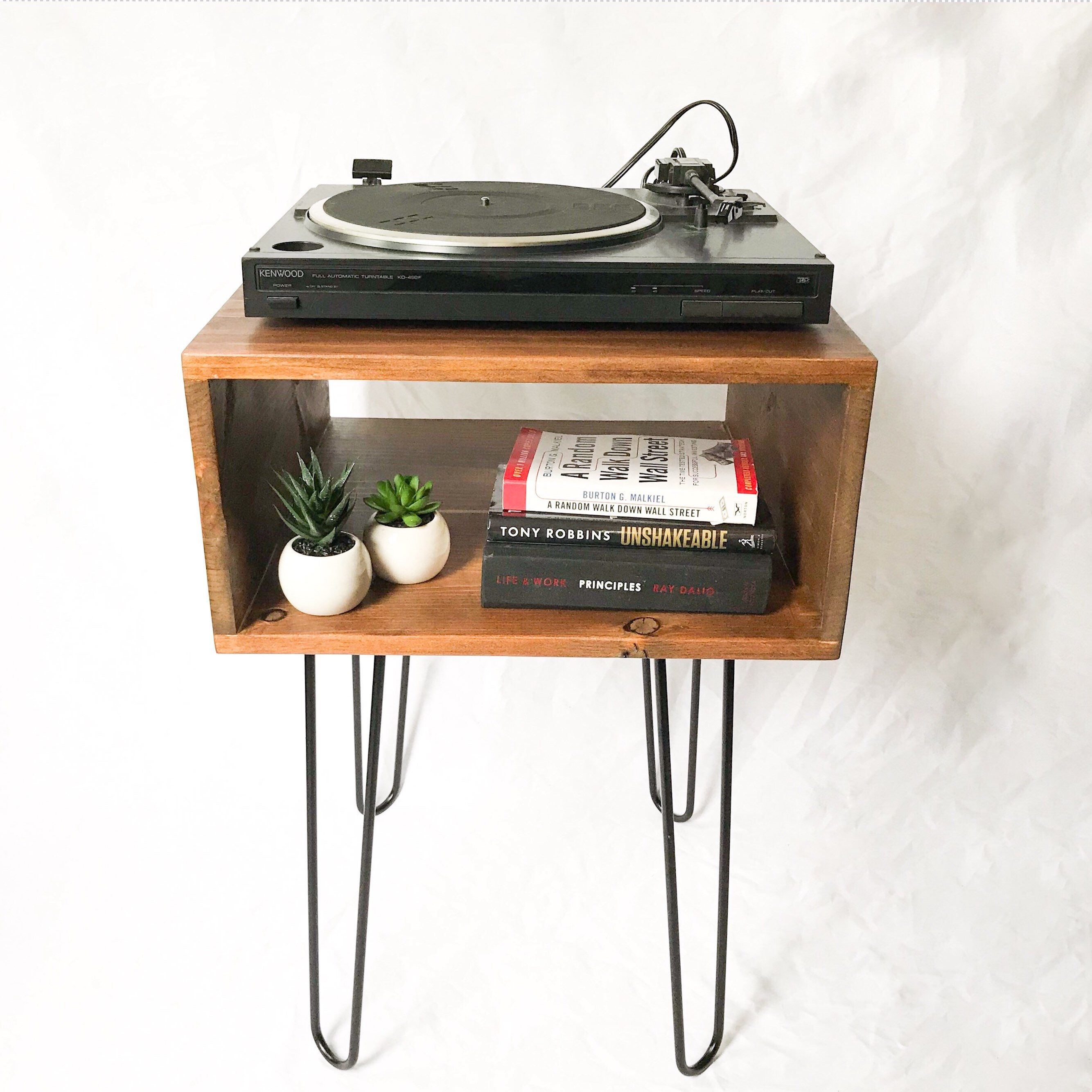Handmade Record Player Table Turntable Stand Vinyl Storage