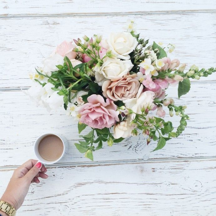 Morning flowers + hot coffee