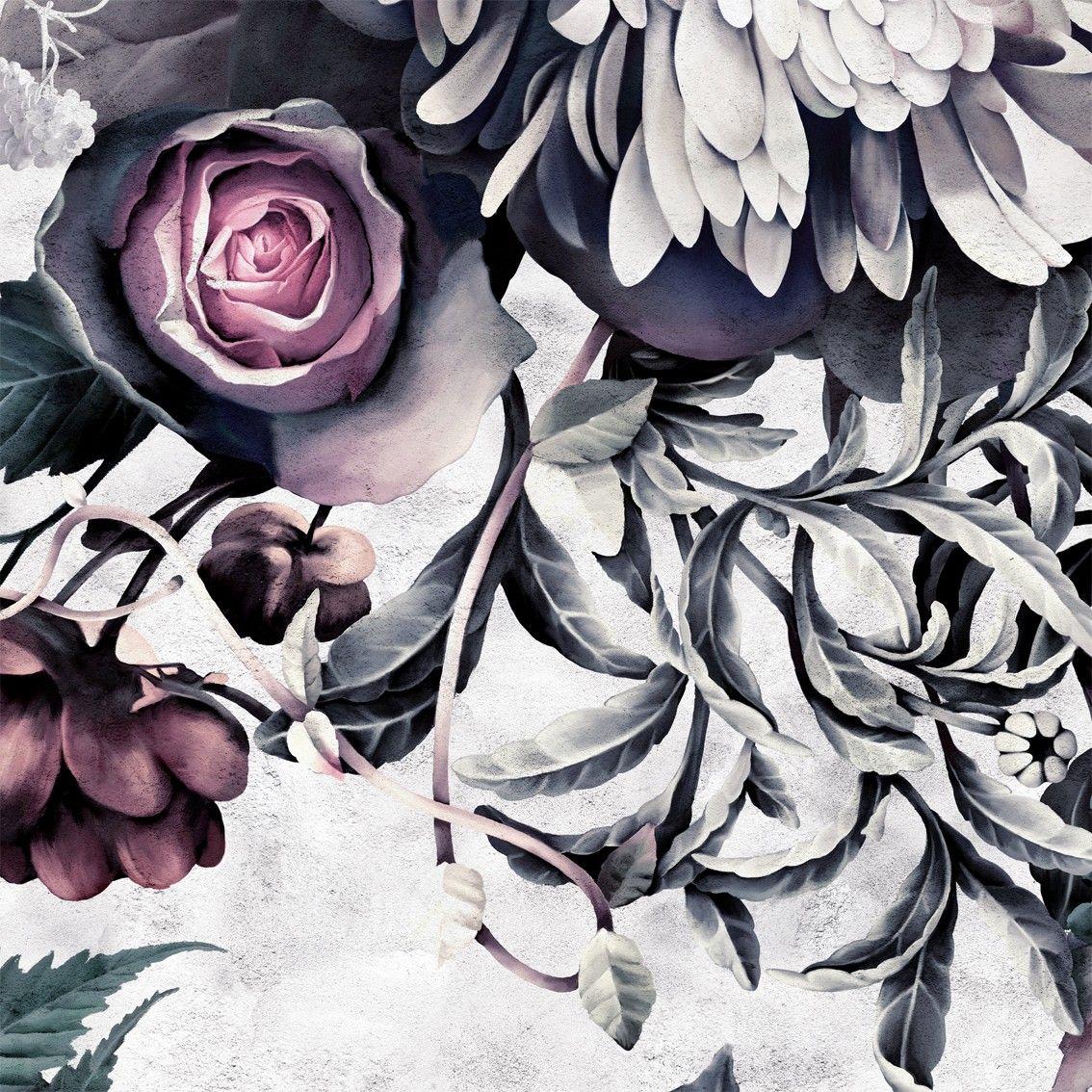 Dark Floral II Sanded Fresco Sample Wallpaper sample