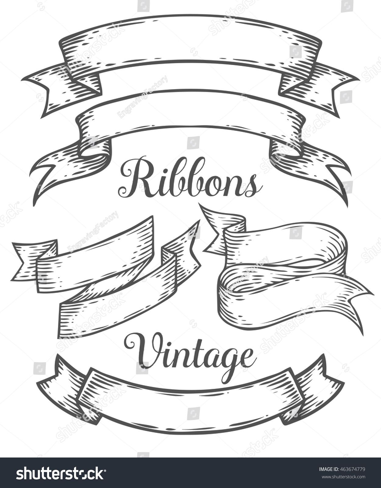 Ribbon Retro Vintage Hand Drawn Illustration Vector Set Sketch Banners Old School Style For Decoration Scra Hand Lettering Art Banner Drawing Tattoo Banner