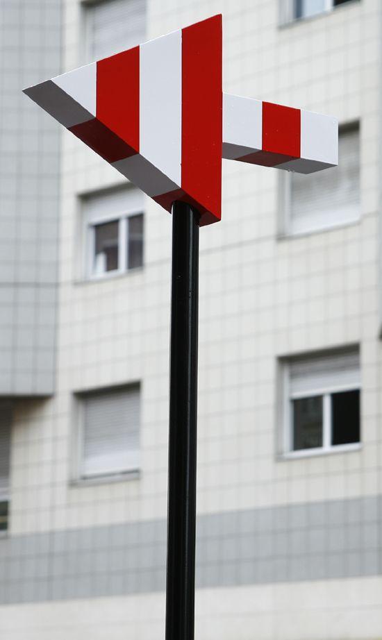 Inspired By Daniel Buren: Stripes - Colour - Shapes - Design - Red - White - Arrow - Sign -Black - Grid - Pattern - Window - Feature - Architecture darkroomlondon.com/