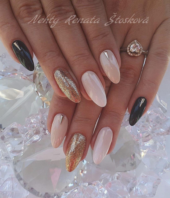 Pink Black And Gold Nails Pink Gold Nails Gold Nail Designs Pink Black Nails