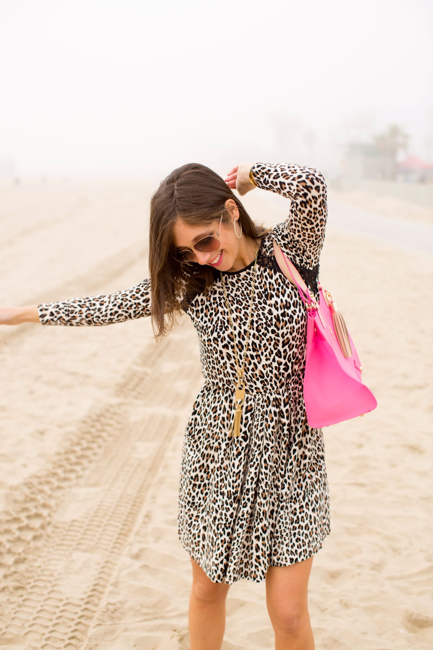 Leopard print dress and a bright pink bag #GoWest