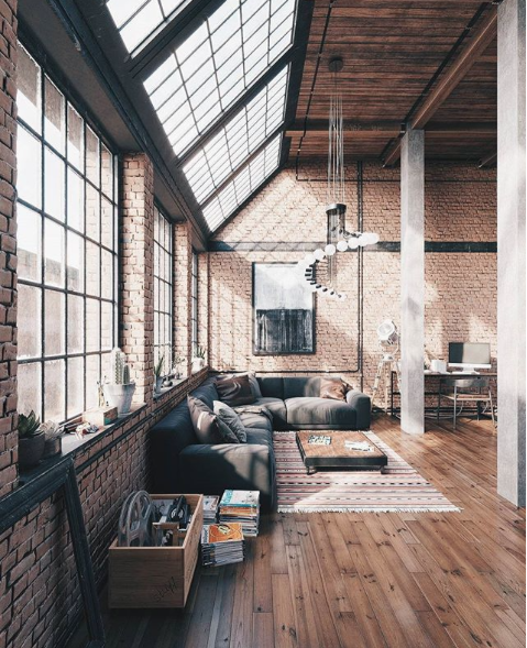 Industrial loft apartment warehouse homes home design windows also pin by roderick deerr on in interiors rh pinterest