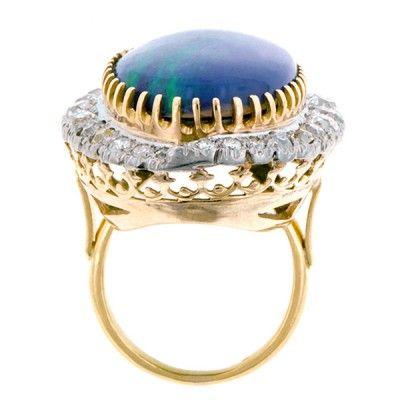 Vintage Black Opal Doublet & Diamond Ring, from Doyle & Doyle