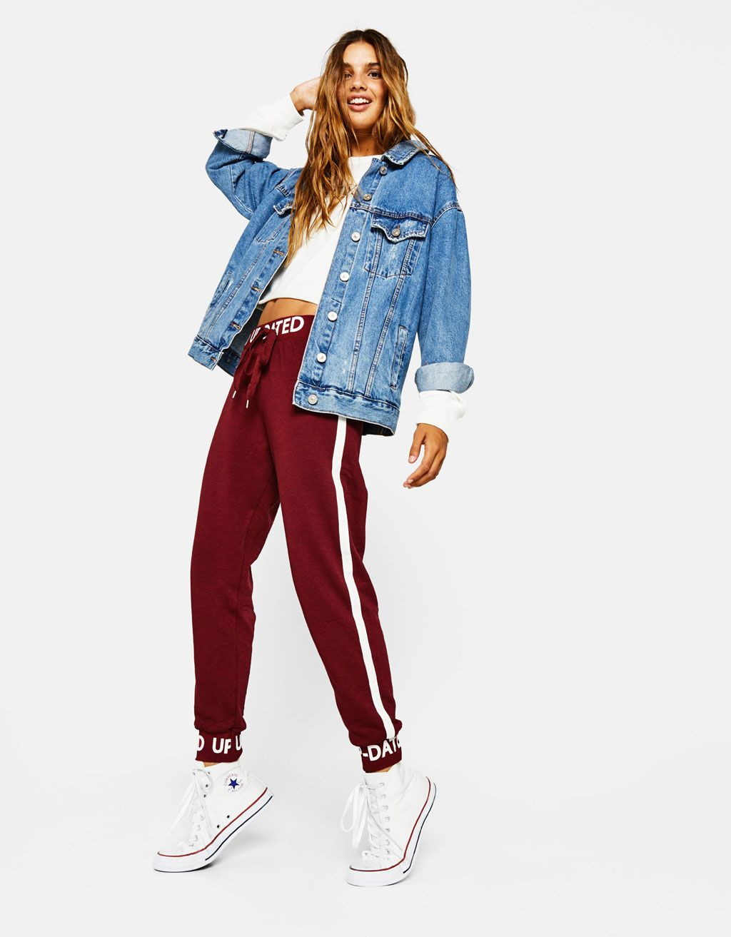 Knit Sweatpants With Text Discover This And Many More Items In Bershka With New Products Every Week Moda Bershka Ropa Ropa De Moda