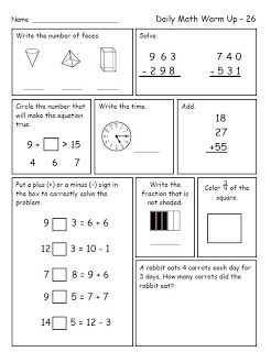 Daily Math Warm Up Freebie For Second Grade Free Morning Math For 2nd Grade Daily Math Math Spiral Review Spiral Math