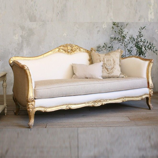 Vintage Luxurious Vintage Settee With Gold Gilt Frame French