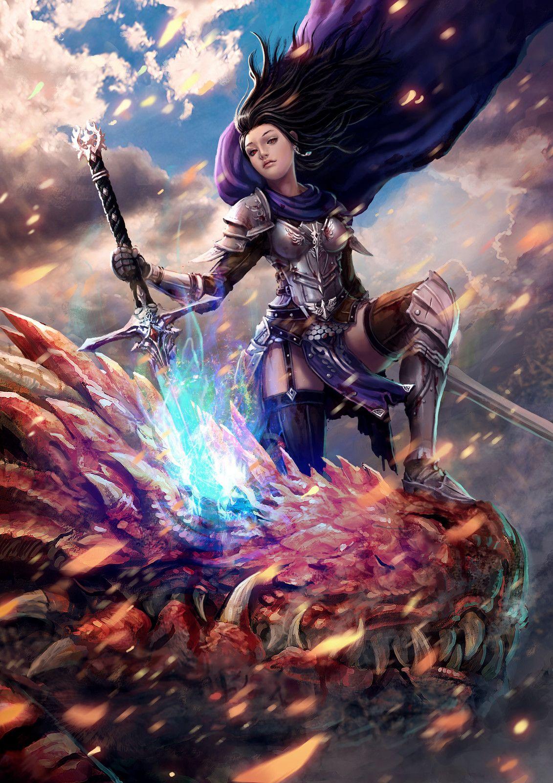 Dragon Slayer | Female warrior art, Fantasy girl, Art