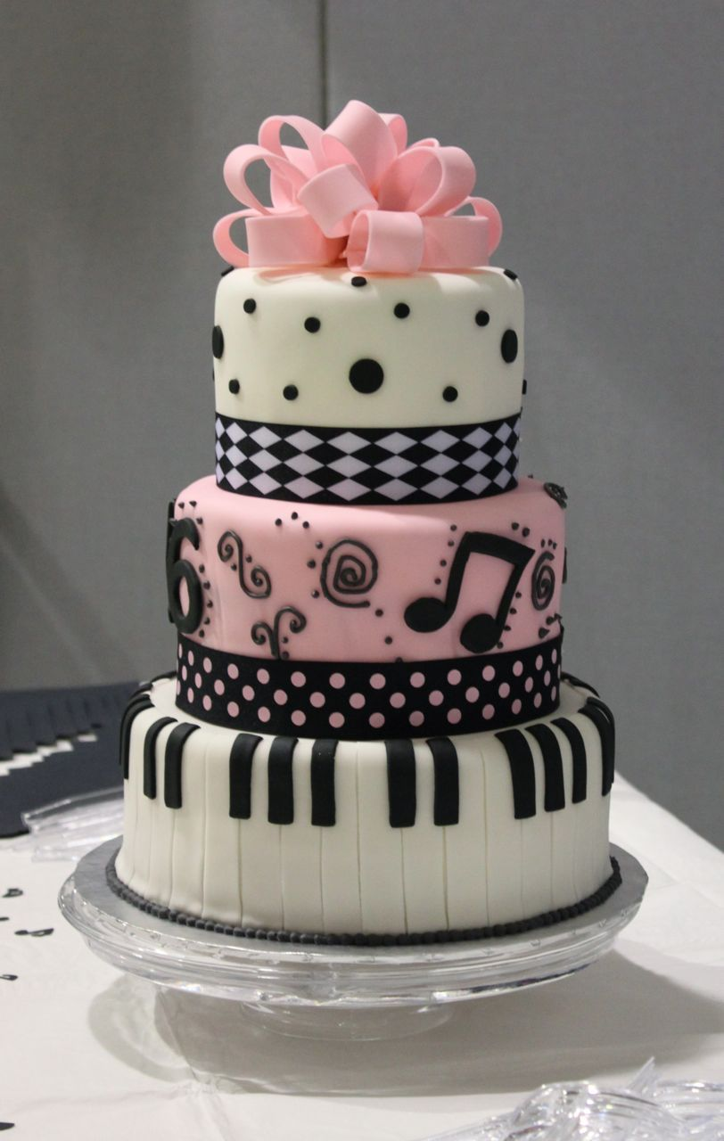 Cute Pink And White Sweet 16 Cake Decorating Idea With Black Music Note Motive Ribbon Use J K To Navigate Previous Next Images