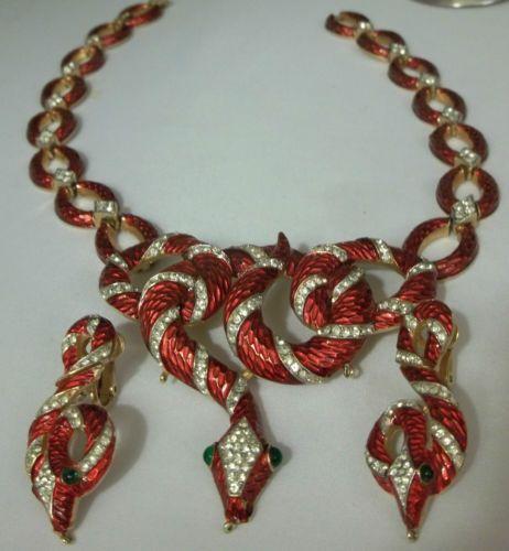 Vintage Trifari Snake Necklace Set 1968 Garden Eden Rhinestone Enamel Philippe | eBay