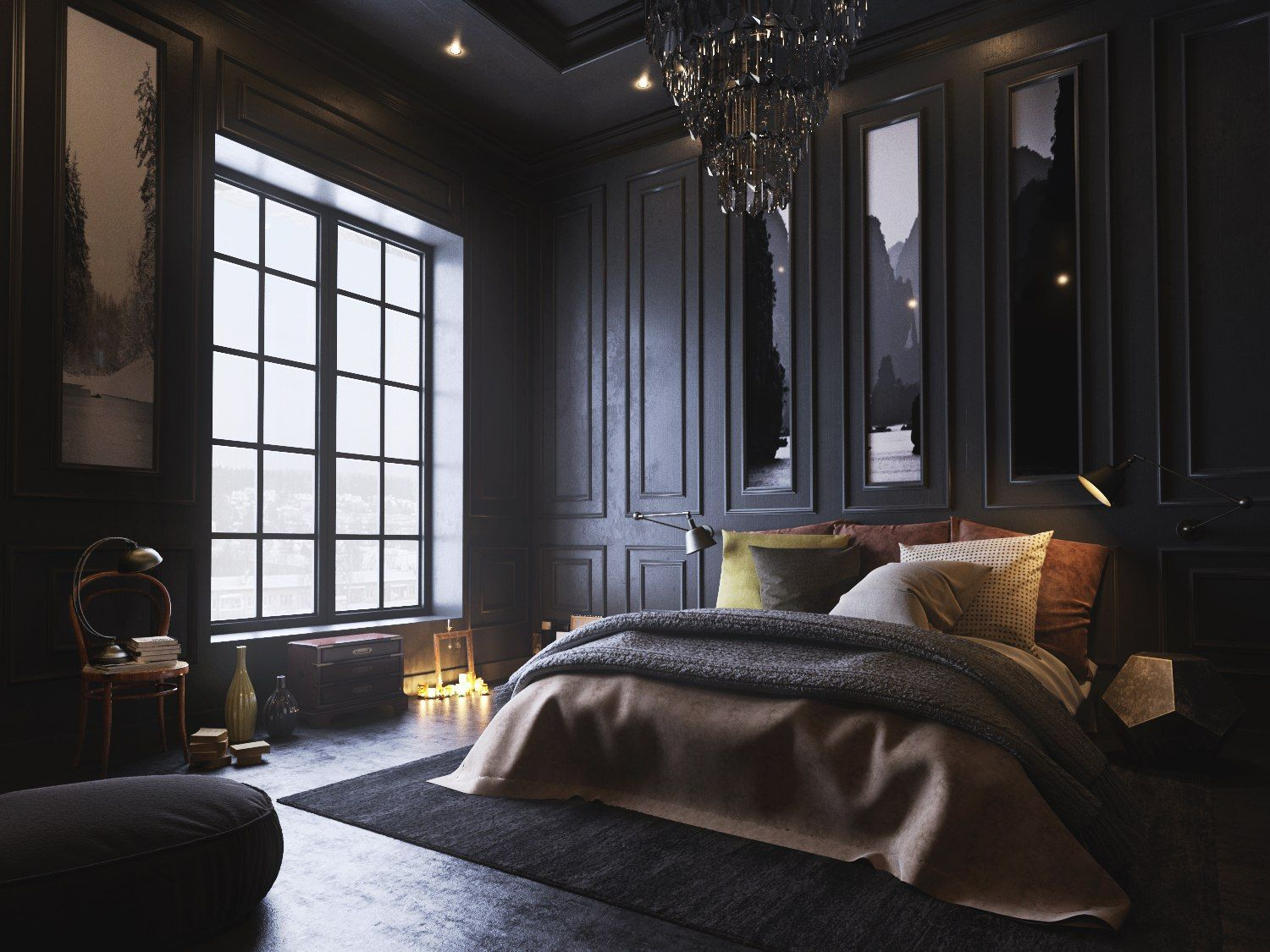 Big Luxury Bedroom With Black Bed