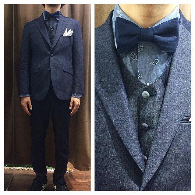 d99da5ee9b672 新郎衣装|カジュアルなデニムタキシードスタイル   結婚式の新郎衣装に関するお話|カジュアルウェディングまとめ