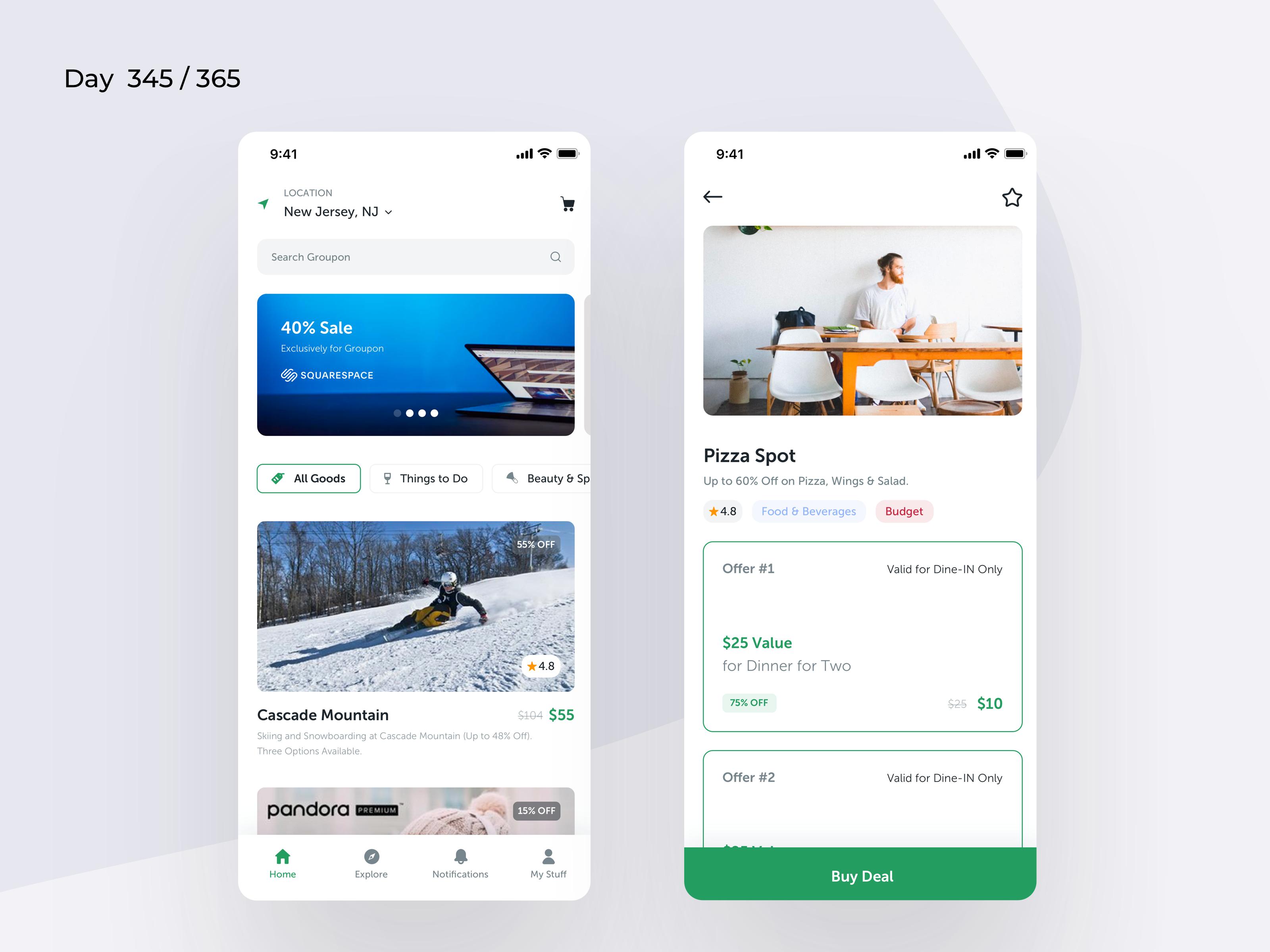 Groupon Mobile App Redesign Day 345 365 Project365 App Development Design Trip Planner App App