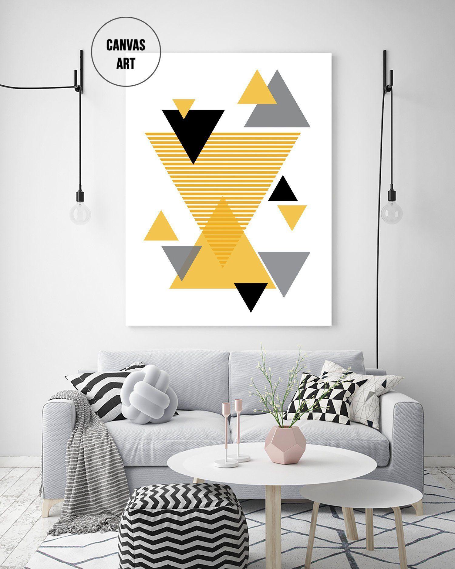 Mustard Triangles Art Print Geometric Canvas Art Large Wall