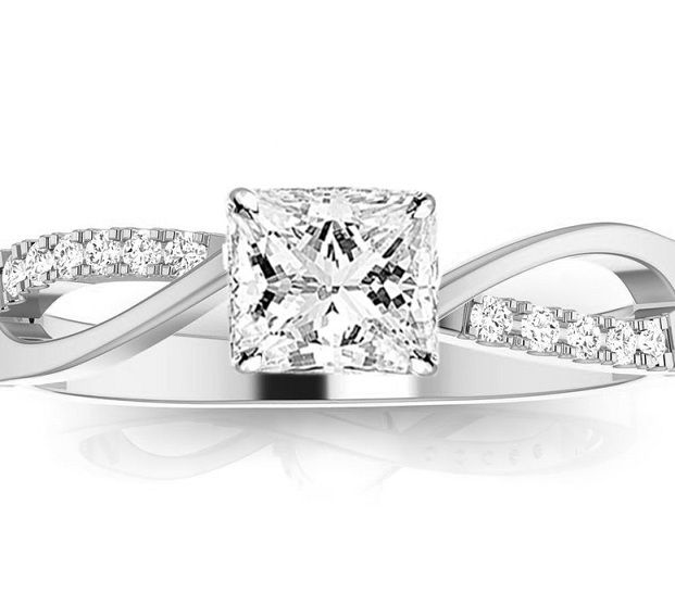 0.78 Carat Twisting Split Shank Princess Cut Diamond Engagement Ring with 14K White Gold