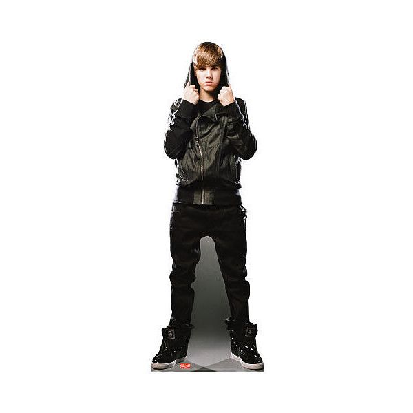 Justin Bieber Life-Sized Stand Up Poster Black Sweatshirt Advanced... ($30) ❤ liked on Polyvore