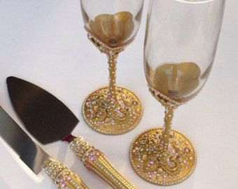 Pink And Gold Toasting Flute Cake Server Set By Saradavisdesigns Victorian