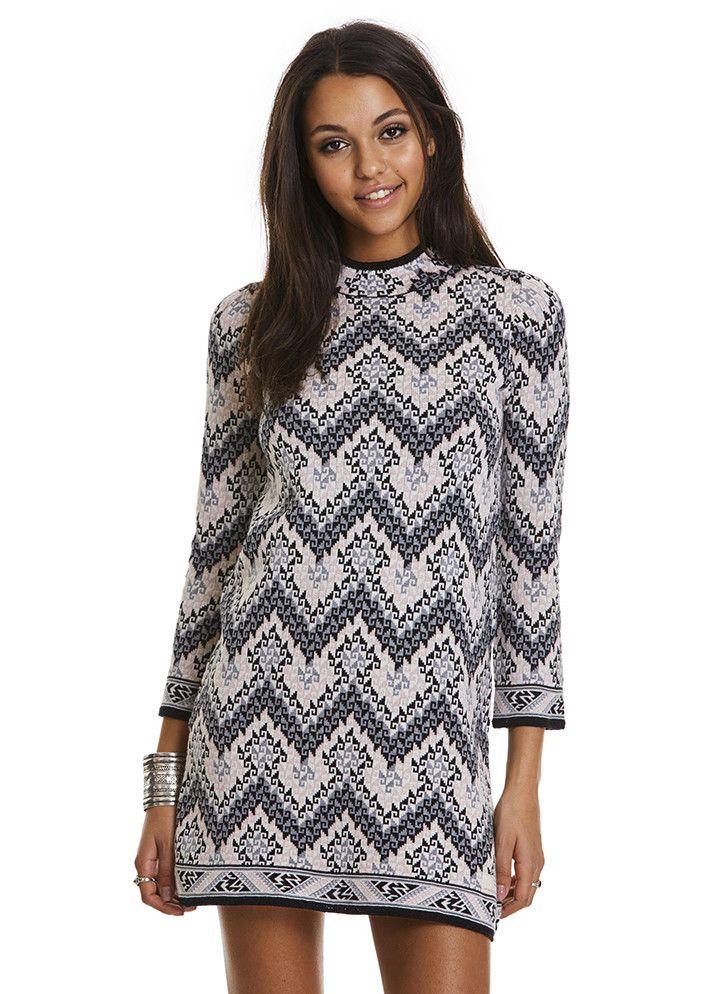 Odd Molly Kjole grå mønstret 117M-117 Horseback Dress - tranquil – Acorns