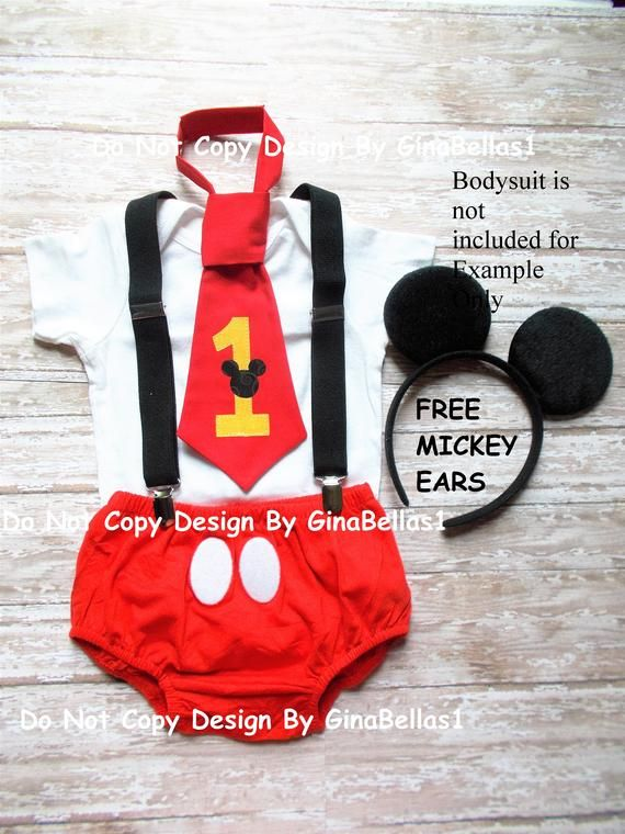 Mickey Mouse Birthday Cake Smash Outfit Suspenders FREE Ears First RED I Am One Tie Diaper Cover Bod