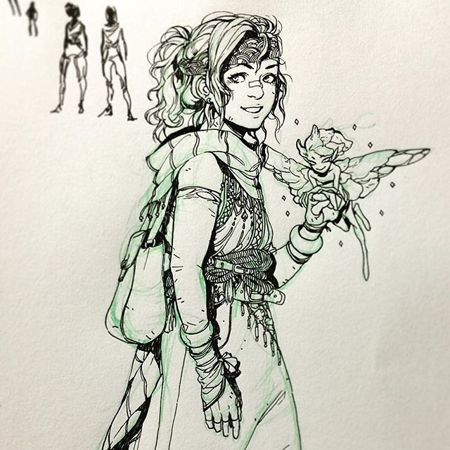 A traveler and her faerie friend c: wanted to ink something traditionally for once// by arucelli