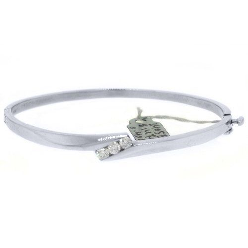 50% Off was $3,490.00, now is $1,745.00! 14k White Gold .40 Carat Round Channel Set Diamond Bangle Bracelet