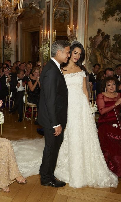 Look Back At Amal Clooney S Whole Lineup Of Wedding Weekend Looks Celebrity Wedding Dresses Wedding Dresses Amal Clooney Wedding