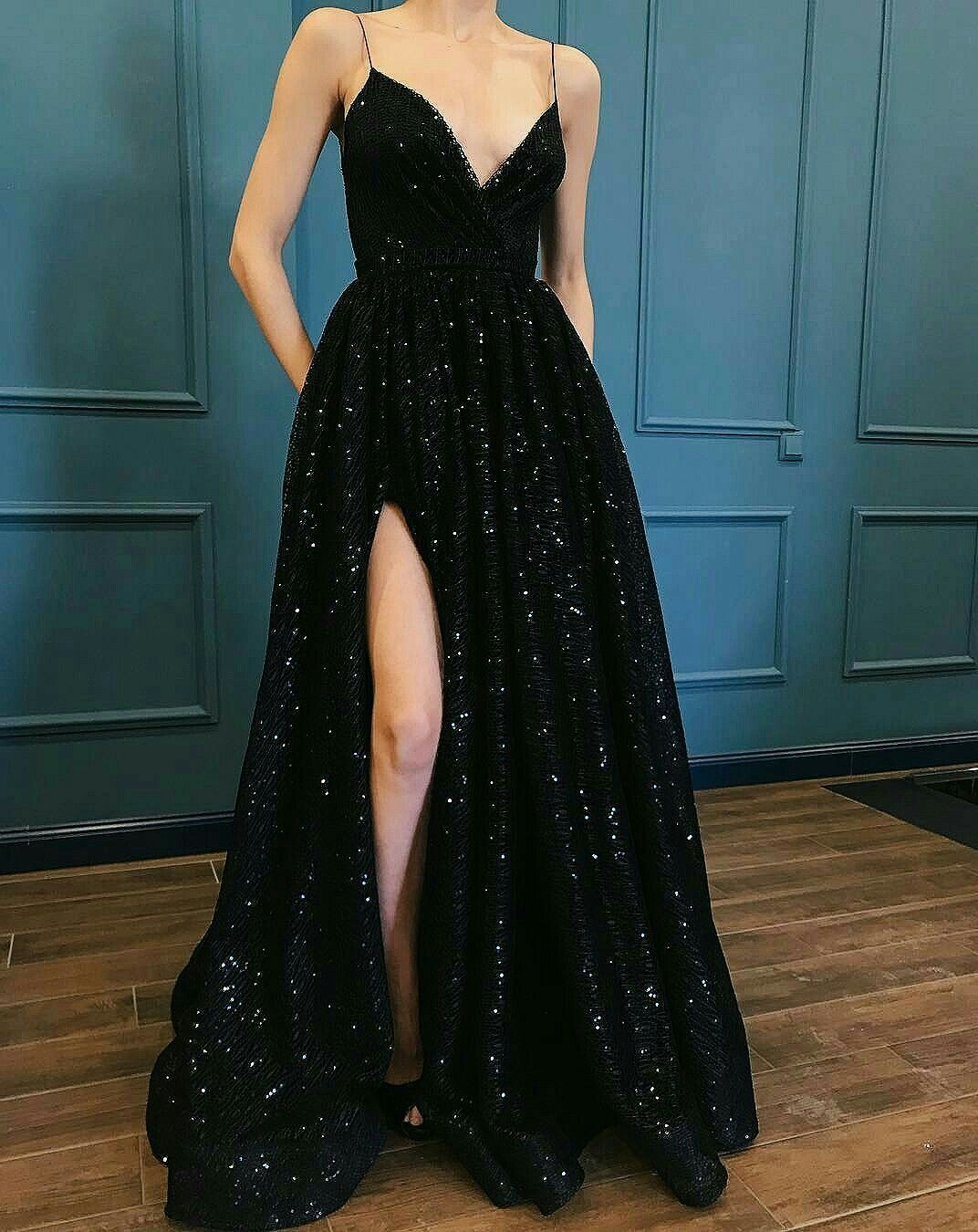 Long black beaded gown with slit wedding pinterest dresses