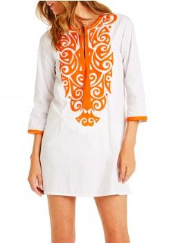 embroidered tunic in clean white