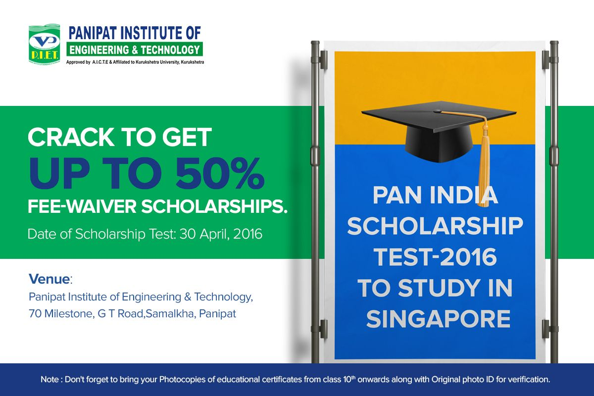 Scholarshiptest Pietpanipat All The Best Scholarships Engineering Technology Panipat