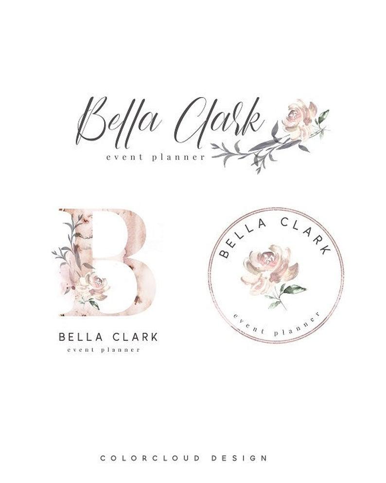 flower logo design signature logo premade logo watercolor alphabet flower floral logo photography logo feminime logo florist logo pink rose