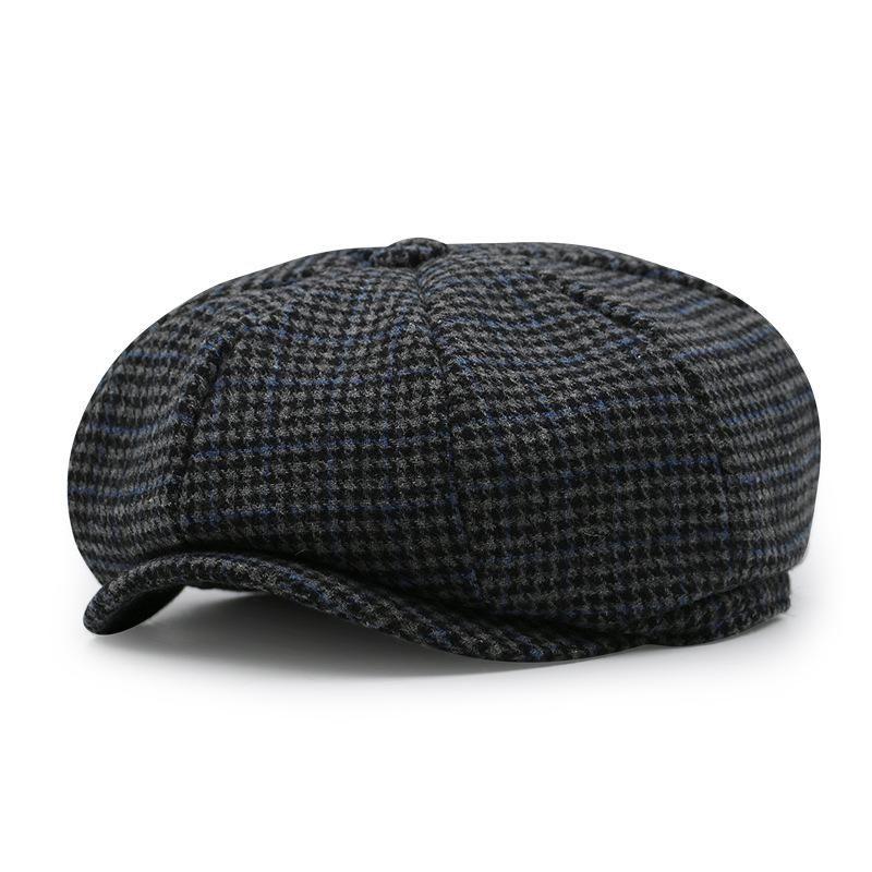 Kids Junior KID Flat Cap Houndstooth Tweed Country Peaked Hat Beret Grey