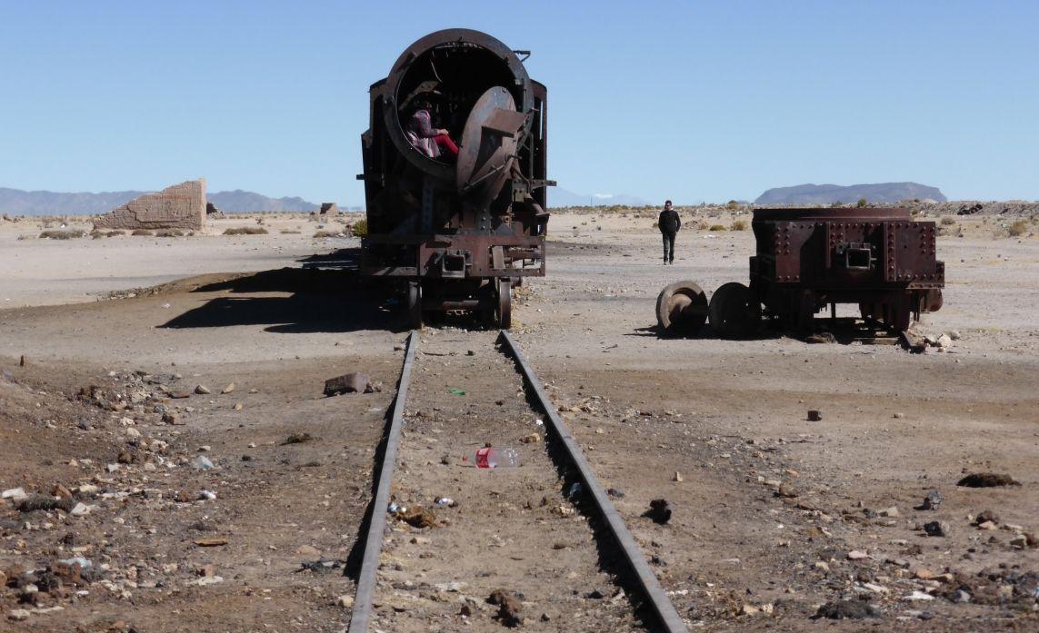 Lokomotiven und Züge auf dem Eisenbahnfriedhof, Cementerio de Trenes, Uyuni, Bolivien