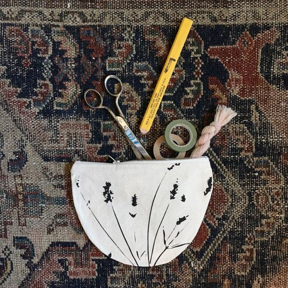 Handmade Lavender Print Half Moon Pouch by dashanddart on Etsy
