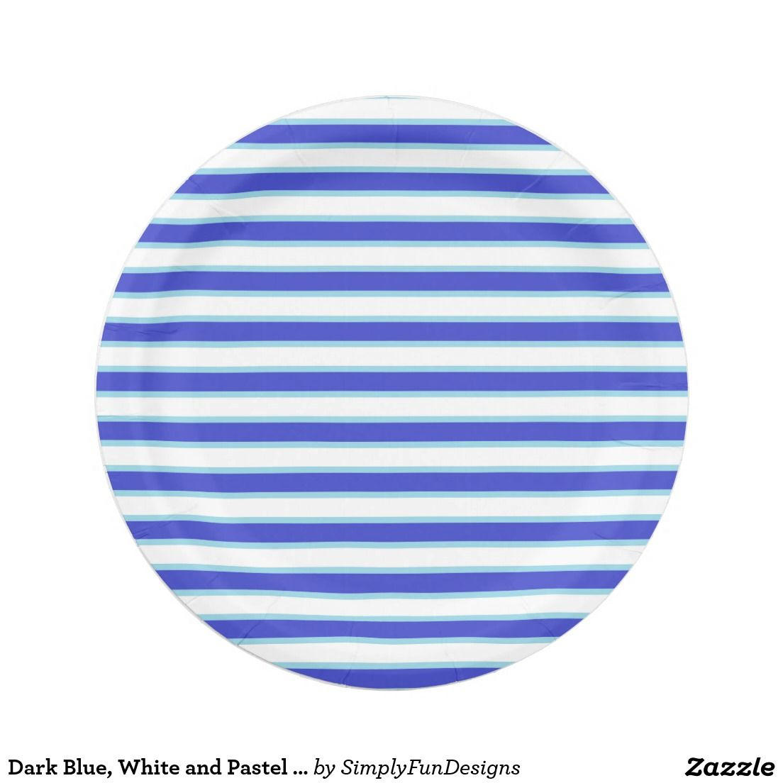 Dark Blue, White and Pastel Blue Stripes Paper Plate