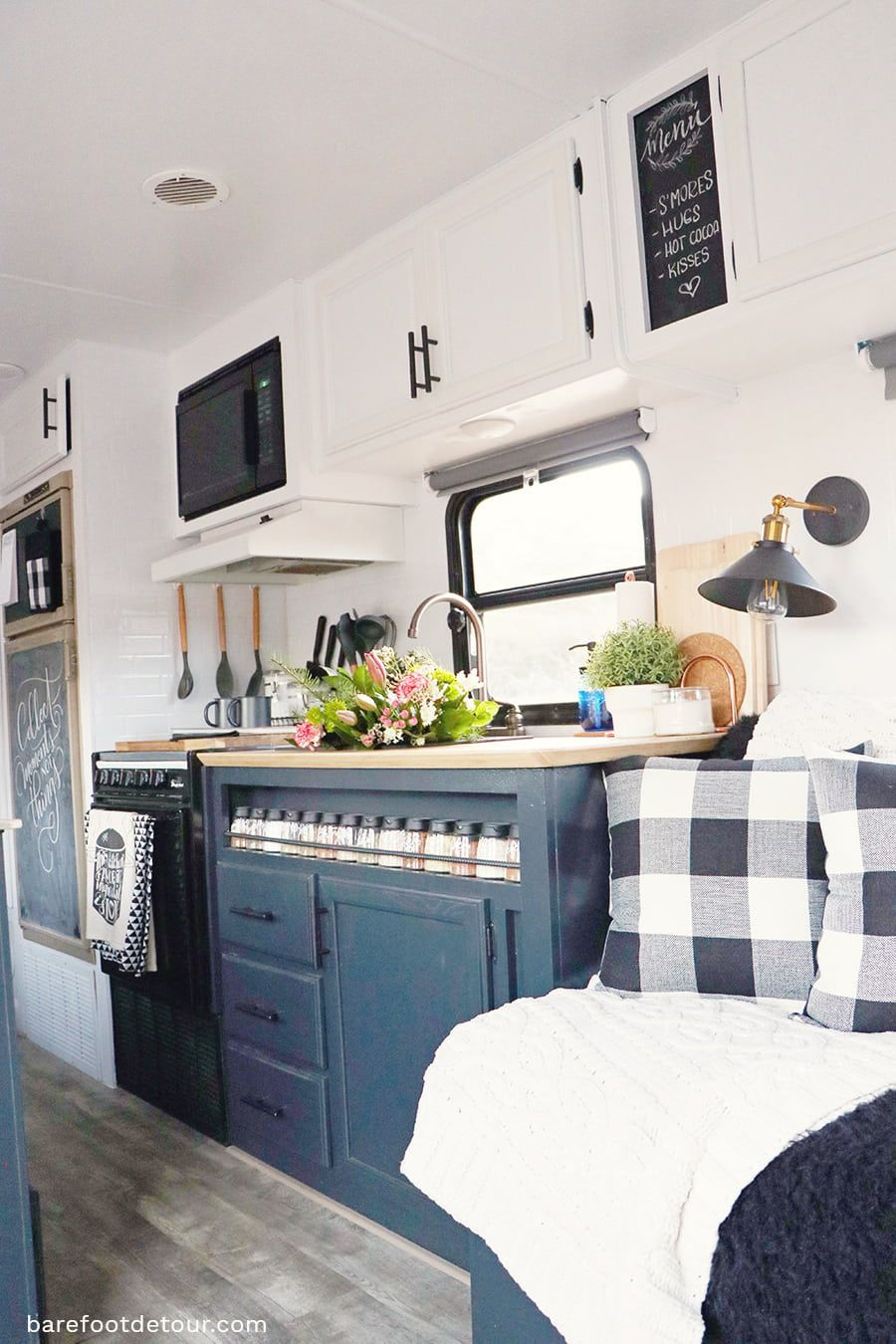 Check Out 15 Of The Most Beautifully Renovated Rvs Remodeled Using Diy Techniques With Amazing Results See Glamper Camper Diy Camper Remodel Camper Makeover