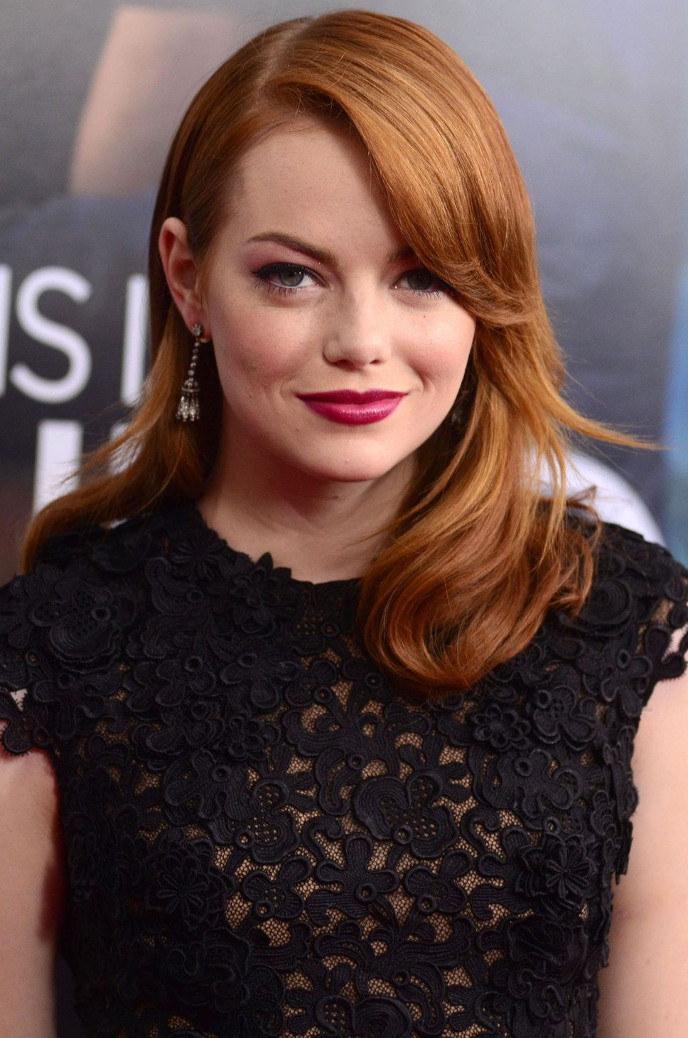 Emma Stone Red Old Hollywoods Hair Style Hot Pink Lips Diamond