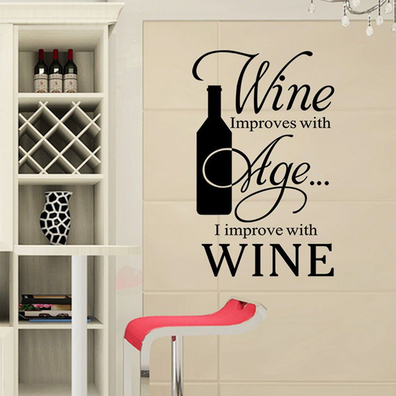 Removable Quote Wall Sticker Vinyl Art Home Decal Kitchen Wine Age Bottle Decoration GW