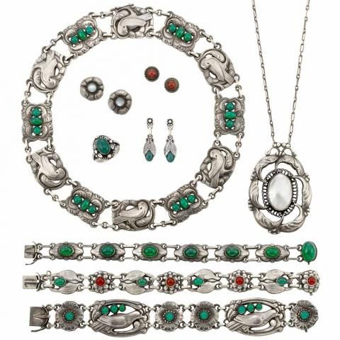 Group of Sterling Silver, Blister Pearl, Dyed Green Chalcedony and Moonstone Jewelry, Georg Jensen - Fine Jewelry - Beverly Hills | Doyle Auction House