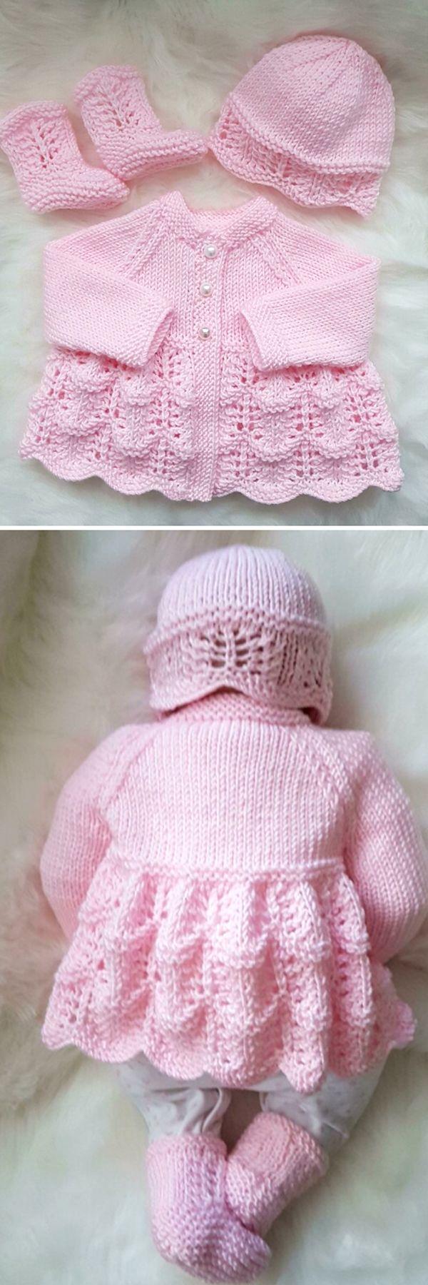 Isabella Baby Cardigan, Hat & Booties - knitting Pattern #vestidosparabebédeganchillo