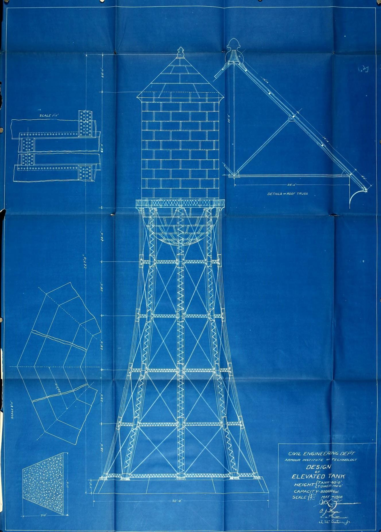 elevated water tower blueprint, 1850 | Blueprints and