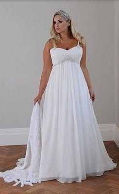 New A Line Court Train Chiffon Plus Size Wedding Dress