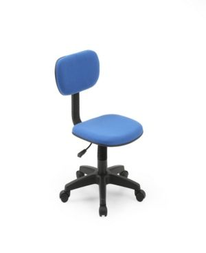 Hodedah Armless Low Back Adjustable Height Swiveling Task Chair With Padded Back And Seat In Blue Blue Kids Desk Chair Classic Computer Desk Task Chair