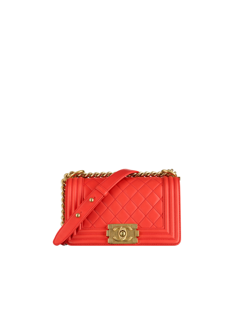 Small Boy Chanel Flap Bag Calfskin Gold Metal Red