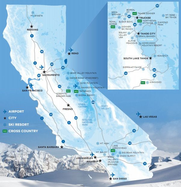 California Ski Resorts Map map of california ski resorts 1 | preschool | California ski