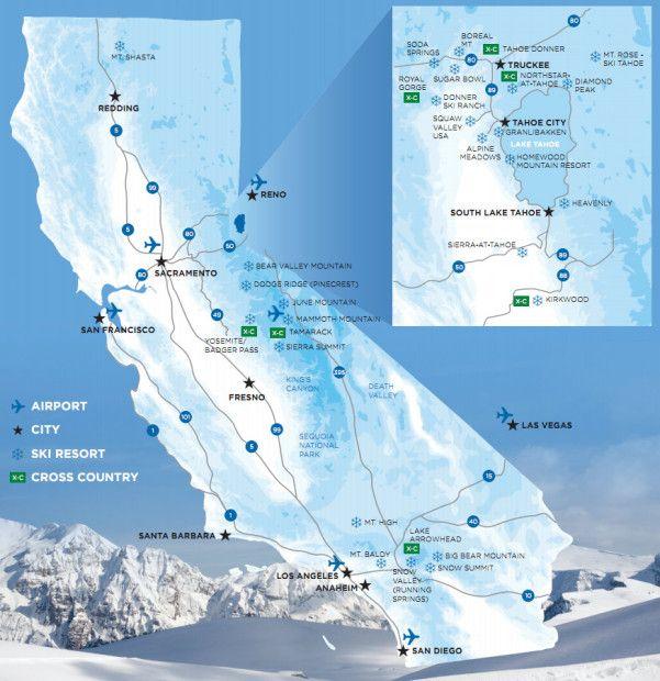 Map Of California Ski Resorts 1 Preschool Pinterest California