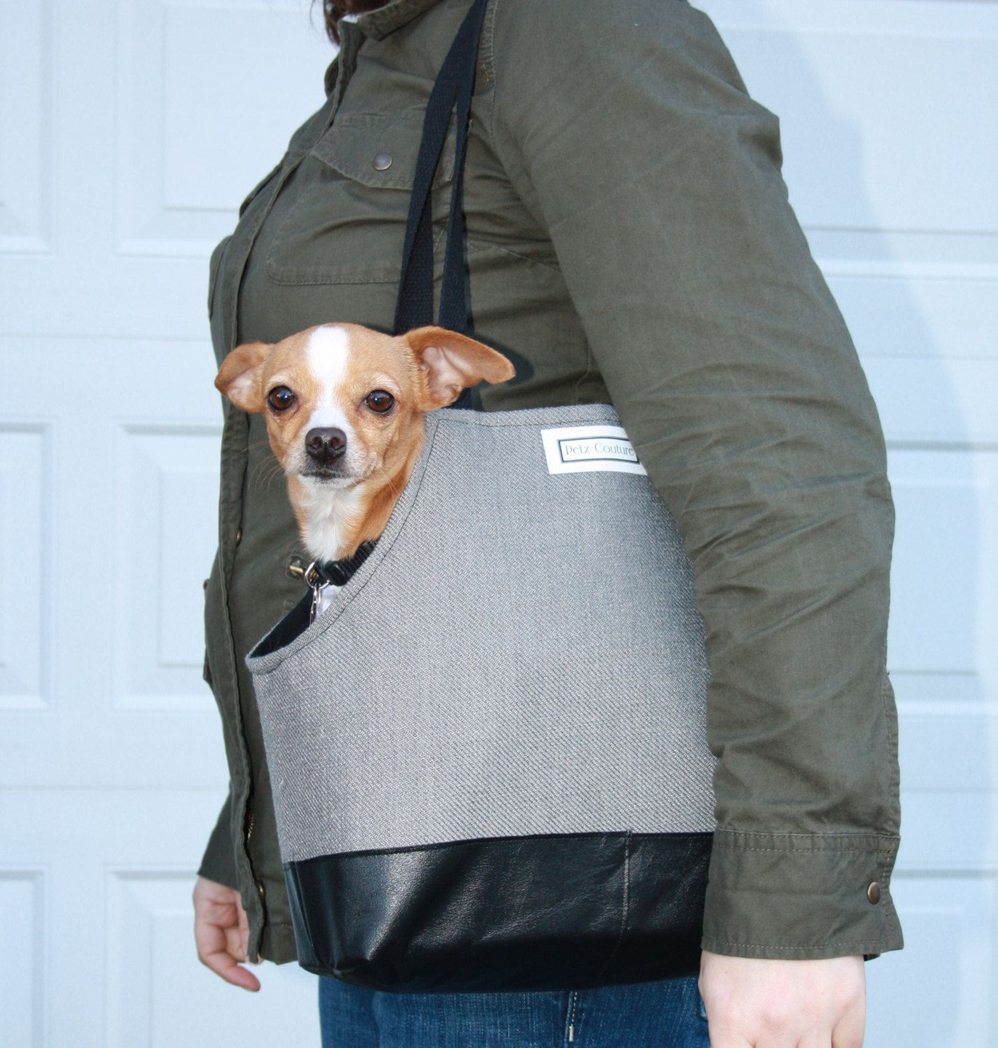 Small Dog Carrier Grey And Black Masc Style Pet Tote Chihuahua Min