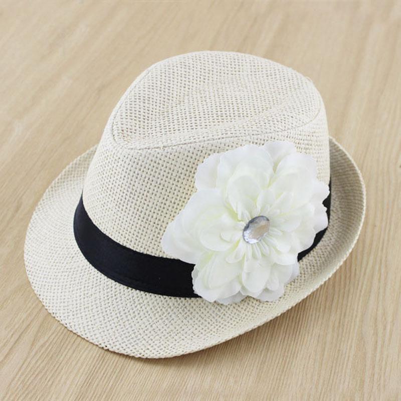 dd9c1615c6525 New Baby Flower Hat Children Summer Straw Fedora Hat Girl Sunbonnet Cap Top  Hat Kids Jazz Cap Girls