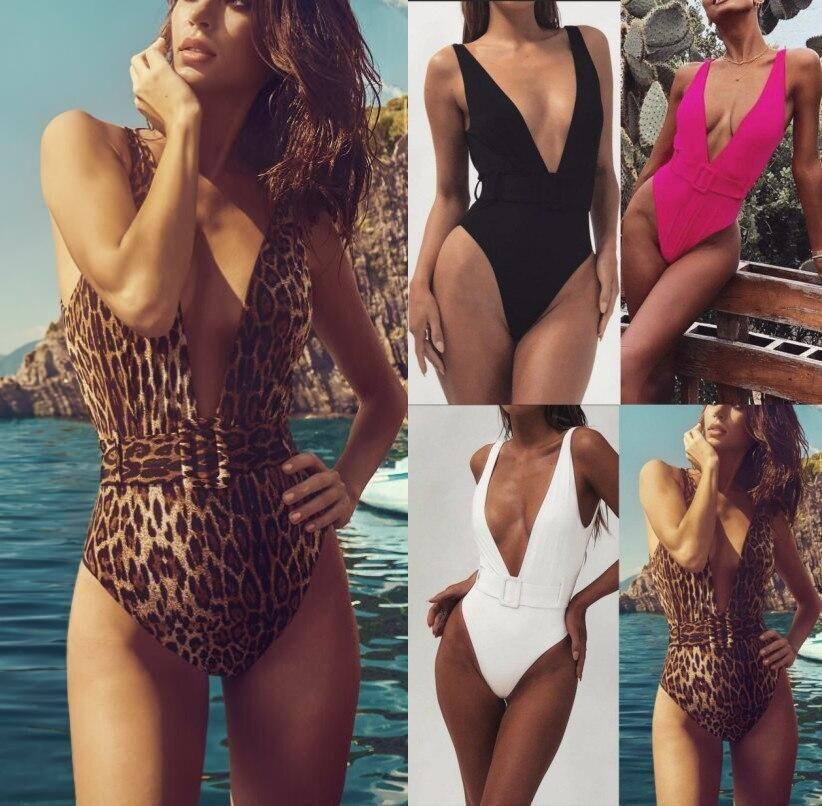 Womens Tassel V Neck Swimsuit Push Up Side Tie Monokini Cut Out Swimwear Bathing